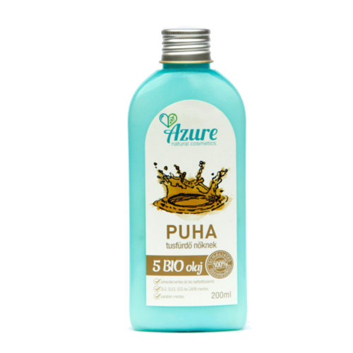 Azure puha natúr bio tusfürdő nőknek 5 olajjal - SLS-mentes és parabén-mentes tusfürdő