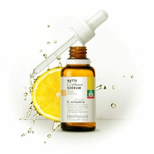 Medinatural Aktív C-vitamin szérum: pigmentált bőrre, sötét karikákra