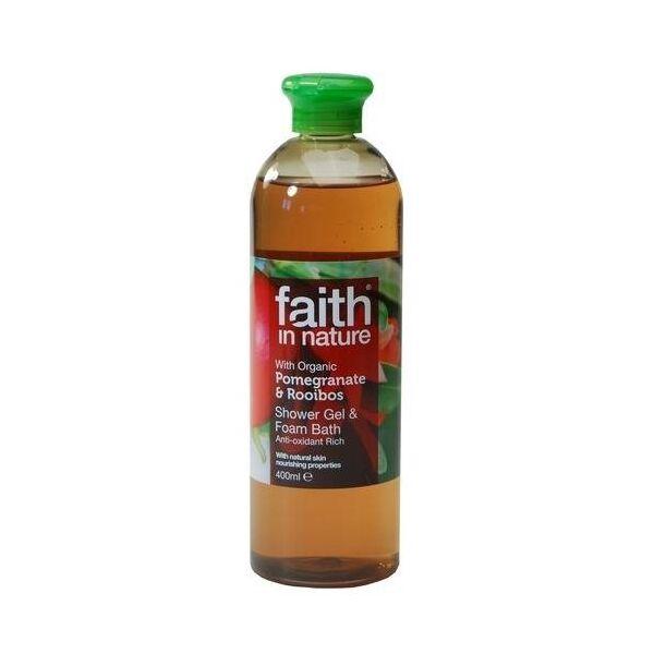 Faith in Nature bio gránátalma & rooibos natúr hab- és tusfürdő - 400 ml - Parabén és SLS mentes