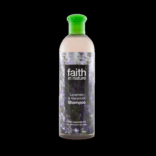 Faith in Nature levendula és geránium natúr sampon száraz hajra - SLS-mentes