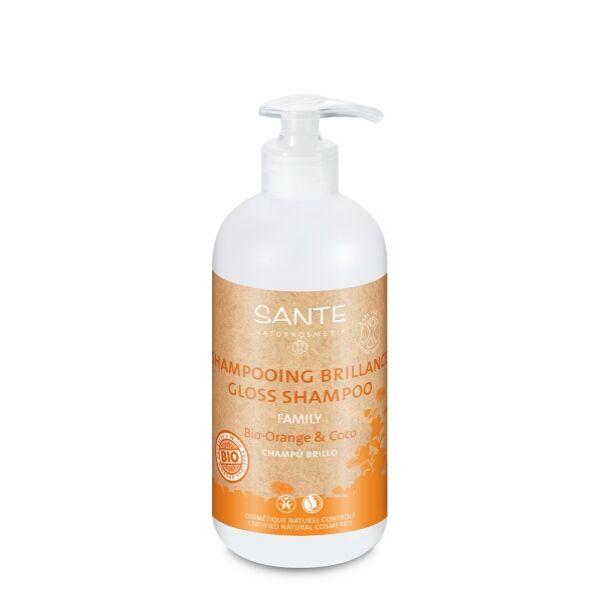 Sante családi selyemfény tápláló sampon bio narancs & kókusz - 500 ml - SLS-mentes